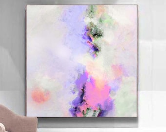 Lilac & Peaches Abstract Art Print, Soft White Lavender Home Decor, Interior Design, Livingroom Wall Art