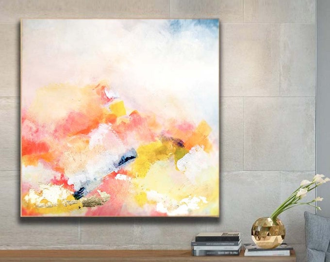 Featured listing image: Apricot Blush Abstract Art Print, Large Embellished Canvas, Office Decor, Oversized Pale Coral Wall Art, UK