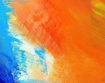 Blue Anomaly Fine Art Print, Orange Abstract Home Decor, Contemporary Canvas, Bright Oversized Wall Art, UK