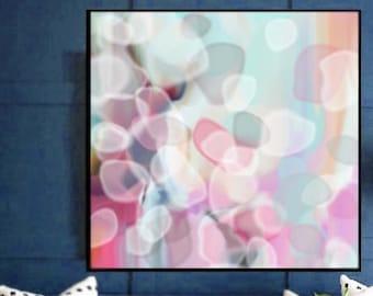 Soft Pastel Abstract Mint and Pink Petals, Fine Art Print, Modern Wall Decor, Livingroom Interior Design UK
