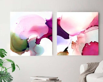 Orchid Petals, Set of 2 Abstract Fine Art Prints, Floral Decor, Avocado Green & Pink Interior, Large Paintings