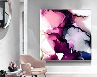 Jacaranda Abstract Fine Art Print, Modern Home & Office Decor, Large Purple Canvas, Interior Design, UK