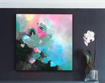 Slate Grey Abstract Fine Art print, Contemporary Home Decor, Modern Pink Aesthetic, Grey Interior Design, UK artist