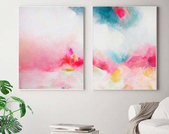 White Pink & Mint Green Abstract Fine Art Print Set, Modern Home Decor, Acrylic Painting in Hot Pink, UK