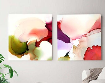 Coral Blush Orchids, Set of 2 Abstract Contemporary Fine Art Prints, Soft Pastels, Home Decor, Unique Wall Art, UK