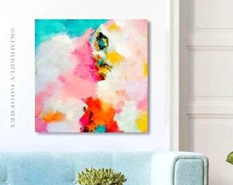 Miami Mango Fine Art Print, Bright Orange Colourful Abstract Art, Pink Mint Wall Art with Gold leaf, UK artist