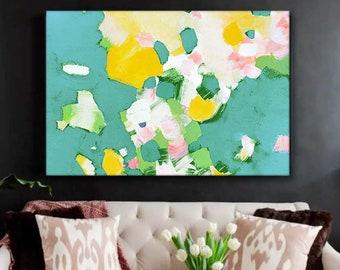 Jade Petals Abstract Giclee Floral Print, Large Canvas for Livingroom, Green Home Decor, Lemon Yellow Wall Art, UK
