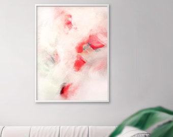 White Melon Abstract Print, Soft Pink Aesthetic Interior Design, Oversized Minimal Canvas, Modern Wall Art, UK