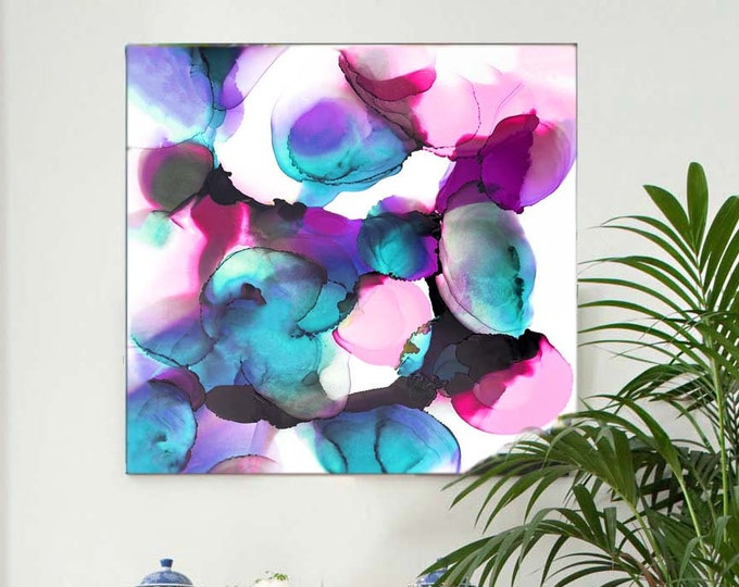 Featured listing image: Blue Peacock Petals Abstract Art Print, Mint Green Interior Design, Ink Painting, Large Bubbles UK