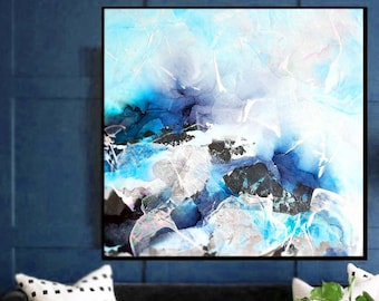 Blue Coastal Abstract Giclee Fine Art Print, Embellished Art, White Home Decor, Large Modern Painting, Wall Art UK
