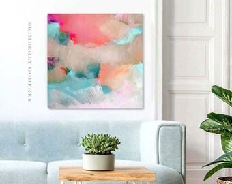 Sedona Sky Abstract Fine Art Print, Modern Light Green Decor, Sand Beige Coral Interior Design, UK Wall Art