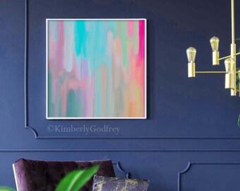 Rainy Days Abstract Fine Art Print, Blush Pink Modern Wall Art, Oversized Canvas, Pale Grey Retro Home Decor, UK