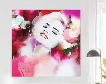 Scarlet Blonde Fashion Illustration, Ruby Red Aesthetic, Oversized Wall Art, Beauty Salon, Home Decor