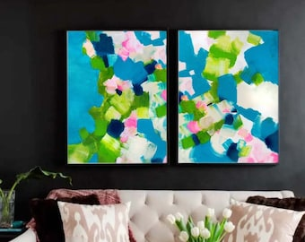 Turquoise Floral Abstract Print Set, Colourful Contemporary Home Decor, Grey Wall Art, UK Artist