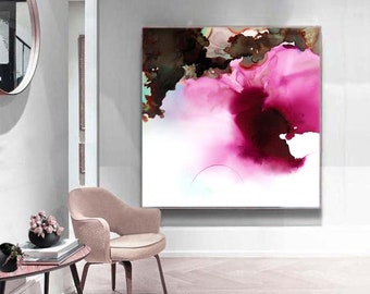 Peony Abstract Art Print, Rich Jewel Tone Floral, Plum Wall Art Decor for Livingroom, Office, Bedroom UK