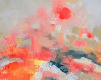 Coral Heather Abstract Art Print, Orange Home Decor, Bright Contemporary Interior Design, Wall Art, UK Artist