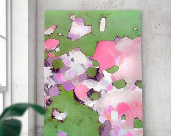 Foxgloves Abstract Art Print, Sage Green Floral Wall Art, Grey Aesthetic, Pink Home Decor