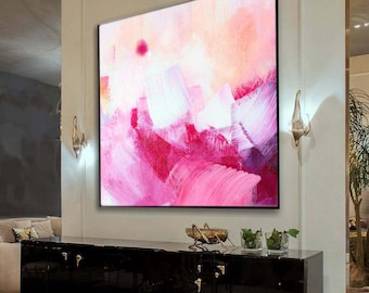 Pink Abstract Art Print, Embellished Giclee Repro Painting, Oversized Canvas, Interior Style, Wall Art, UK