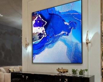Rich Blue Marble Fine Art Print, Silver Mica Embellishement, Home Decor Livingroom Oversized Wall Art
