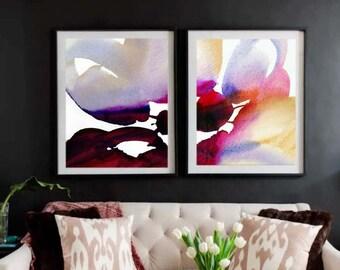 Soft Grey Fine Art Watercolour Print Set, Pastel Aesthetic Home Office Decor, Flower Petals Wall Art, UK