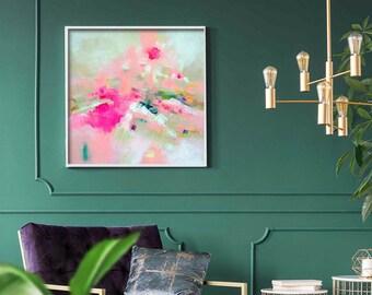 Pink Heather Abstract Art Print, Hot Pink Decor, Contemporary Textured Print, Interior Design, Modern Wall Art