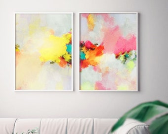 Buttercup Blush Set of Abstract Art Prints, Soft yellow, Coral Peach Room Aesthetic, Interior Decor Wall Art, UK