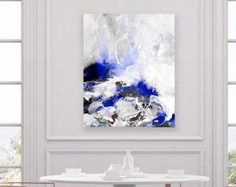 Cool Blue Fine Art Print, Abstract Cobalt Indigo Home Decor, Contemporary Modern Painting, Oversized Wall Art