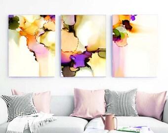 Blush Violet Floral Abstract Set of 3 Fine Art Prints, Coral Ink, Interior Design Home Decor, Modern Livingroom Art
