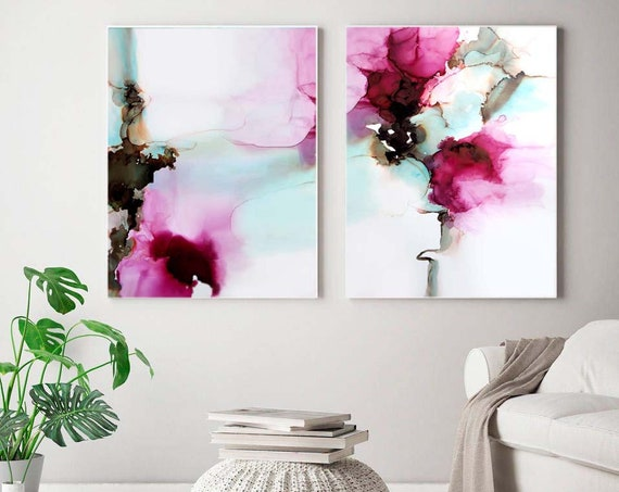 Red Peony Abstract Set of 2 Fine Art Prints, Rich Jewel Tone Colours for Home Decor, Beautiful Floral Wall Art, UK