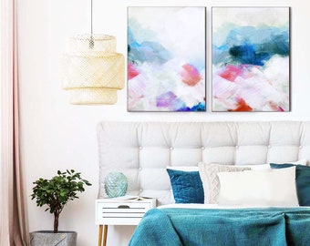 Teal Blush Set of 2 Art Prints, Warm Pink Abstract Paintings for Office & Home Decor, Contemporary Modern Wall Art, UK