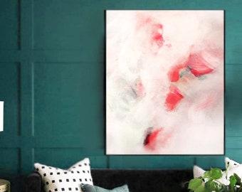 Blush Coral Embellished Art Print, Large Abstract Floral Canvas, Interior Design, Soft Pink Home Decor