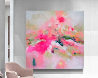 Heather, Abstract Art Print, Bright Pink Painting, Home Office Decor, Contemporary Interior Design, Modern Wall Art