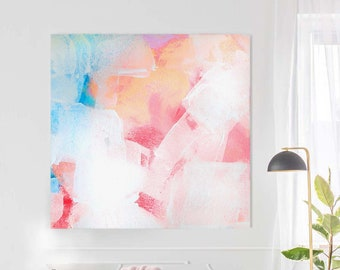 Sugar High Abstract Fine Art Print, Soft Pink Pastel Tones, Pale Blue Interior Design, Wall Decor Art, Kimberly Godfrey