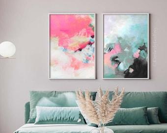 Seafoam Slate Set of Abstract Art Prints, Blue Grey Aesthetic, Modern Interior Design, Colourful Wall Art Decor, UK Artist