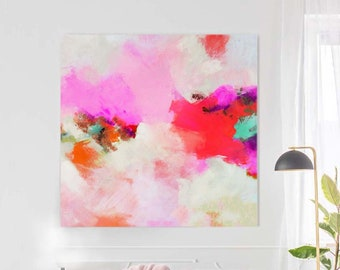 Watermelon Red Fine Art Print, Colorful Floral Abstract, Bright Living room Wall Decor, Interior Design
