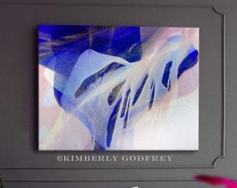 Ultra Blue Petiole Abstract Art Print, Modern Home Decor, Poured Art Flower, Grey Interior Wall Art UK