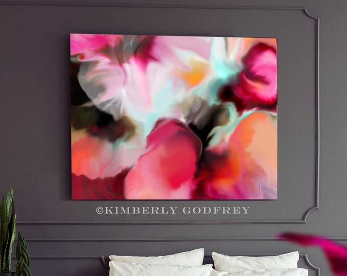 Featured listing image: Red Begonia Flowers, Abstract Fine Art Print, Red Floral Canvas wall Art, Home Decor, Interior Design, UK