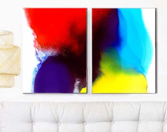 Contemporary Red Blue Abstract Art Print Set, Primary Colors, Oversized Bold Wall Art, Modern Home Decor