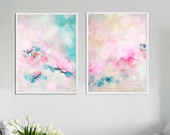 Pale Pink Clouds Abstract, White Art Print Set, Soft Pastel Home Decor, Zen Calming Wall Art, Nursery, Delicate Floral Abstract, UK Artist