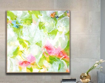 Lime Green & Pink Abstract Fine Art Print, Oversized Painting, Bright White Home Decor, Large Floral Wall Art