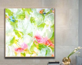 Pink & Lime Green Abstract Fine Art Print, Oversized Painting, Bright Home Decor, Large Colorful Floral Wall Art