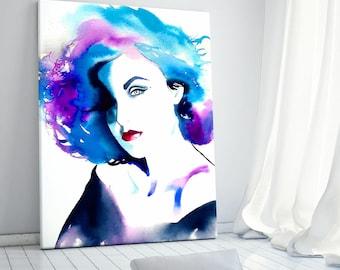 1990s Glamour Art Print Fashion Illustration, Original Watercolor Portrait, Blue Purple Salon Decor, Hair Salon Wall Art