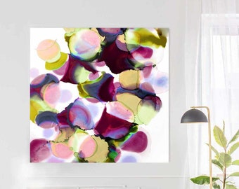 Merlot & Saffron Abstract Fine Art Giclee Print, Purple Circles, Interior Design, Yellow Wall Decor UK