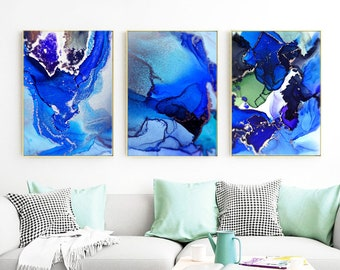 Blue Teal Set of 3 Abstract Art Prints, Marble Saphire Embellished Metallic Silver Mica Wall Art, Oversized Paintings