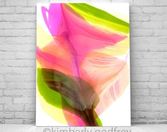 Petiole Abstract Fine Art Print, Light Interior, Floral Pastel Blush Coral Green Petals, Oversized Wall Art