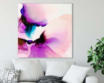 Cobalt Violet Petals, Abstract Art Print, Modern Contemporary Home Decor, Livingroom Wall Art, Floral Art