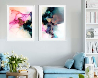 Teal Blue Abstract Art Print Set, Watercolor Paintings, Oversized Wall Art, Pink Marbling, Home Decor