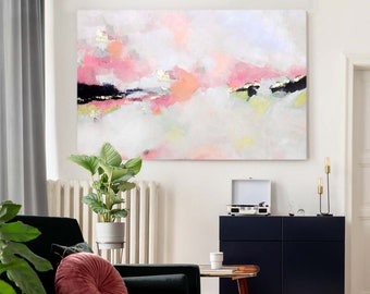 Light Coral Art Print, Large Abstract Embellished Canvas, Interior Design, Soft Pink Home Decor
