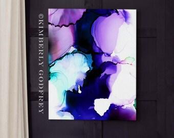 Blue Violet Petals Abstract Fine Art Print, Amethyst Home Decor, Soft Purple Floral, Modern Wall Art, UK