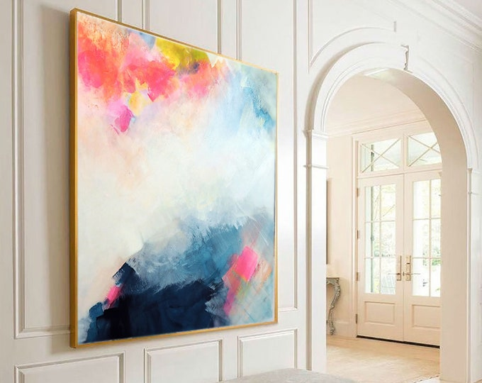 Featured listing image: Blush Indigo Abstract Fine Art Print Embellished Contemporary Oversized Abstract Painting for Home, Office Decor